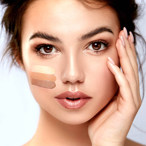 close-up portrait of beautiful girl with big eyes and perfect skin looking to camera, copy space, facial care concept